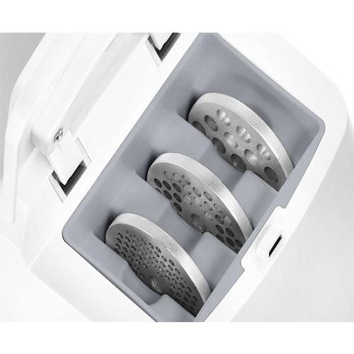 این دستگاه دارای 3 شبکه استیل ضد زنگ بوده کهبه چرخ نمودن انواع گوشت و مواد غذایی در اندازههای ریز، متوسط و درشت کمک میکند.