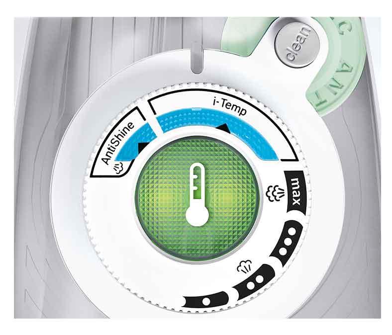 اگر در حین اتوکشی اتو خشک بماند یا به درجه حرارت انتخابی شما برسد، صفحه Temp Ok با یک چراغ چشمکزن که در وسطِ کلید تنظیم دما قرار گرفته اعلام وضعیت میکند.