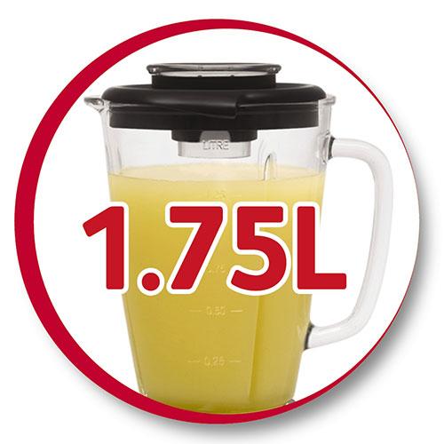 پارچ این مخلوط کن 1.75 لیتر ظرفیت دارد که با قرار گرفتن درب عملا 1.25 لیتر آن قابل استفاده است.