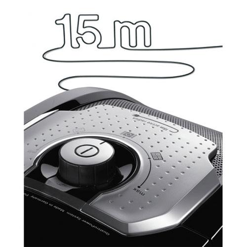 طول سیم در این وسیله 12 متر یا XXL بوده که میتواند در جاروکشی تا شعاع 15 متر را پوشش دهد.
