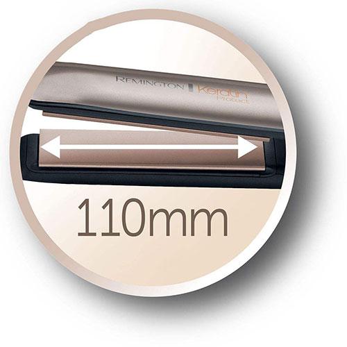 گرما در تمام سطح صفحات 110 میلیمتری این دستگاه پخش شده و فشار یکسانی به موهای شما وارد میکند.